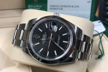 Modern Rolex 126300 Datejust, black baton dial, box & papers