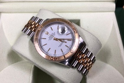 Modern Rolex 16263 Datejust Steel & Gold with Engine Turned Bezel