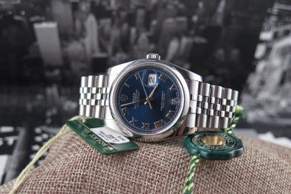 Modern Rolex 116200 Datejust with Blue Roman dial - MINT