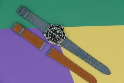 Straps 20mm Grey/Light blue French Calfskin Strap leather Strap.