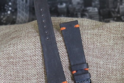 Straps Classic Collection 20mm MJW7 - Special Edition Charcoal with Orange Stitching